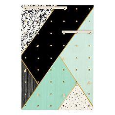 Panneau perforé Geometric en bois de pin, vert d'eau et multicolore, 50x70x2 cm