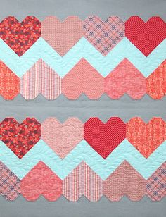 Heart Quilt Inspiration - Sugar Bee Crafts.  I think I'll use the heart tutorial from Stash Bee, hive 3, February 2016/Cluck Cluck Sew to re-create.
