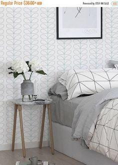 40% OFF from Peel and stick  vinyl  wallpaper - Leaf pattern - 113 Snow/ Whisper/ SEAFOAM