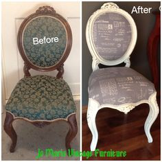 Refurbished vintage French style chair, painted, distressed & re-upholstered www.facebook.com/Jomarievintagefurniture