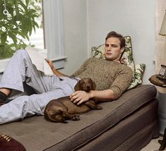 Marlon Brando at his aunts house in California during the filming of The Men (1950)