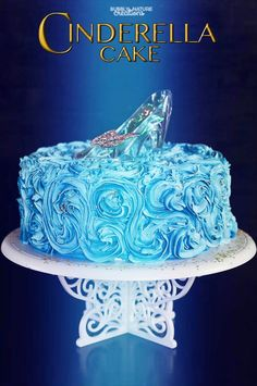 Disney Cinderella Cake!! Such a beautiful cake that looks like it stepped out of the movie. Easy Cake decorating with the starry night swirls!