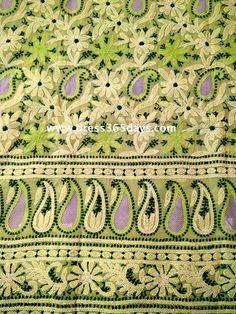 Apple Green Unstitched Kurta with Chikankari Appliqué and Jaali Work( Only Kurta)