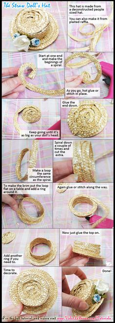 How To Make A Doll's Straw Boater Hat by ~VioletLeBeaux on deviantART USING A CUT APART PEOPLE HAT