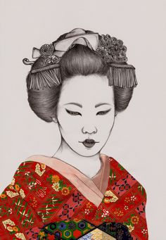Peony Yip, The White Deer. #art #illustration #geisha #japan #red #kimono #girl