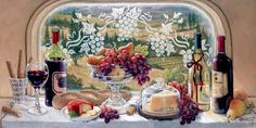 Tuscan Picnic, a new painting by artist Janet Kruskamp. One of the Still Lifes Gallery of Original Oil Paintings and original paintings by J...