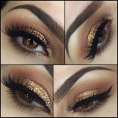 #gold #glitter blended into warm warm, black winged eyeliner | #makeup rania_bellamarie_mua