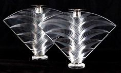 Lalique frosted glass candlesticks 'Ravelana' signed.