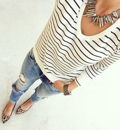 Fall Mix Prints Outfit Inspo by For The Love Of Fancy - black and white v-neck sweater with destructed denim, and leopard flats