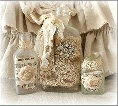 Vintage Embellished Bottles - No Price Listed - This is a set of 3 vintage  bottles that have all been  altered with vintage items ~  They measure 7, 5 and 3.5  inches tall ~ http://www.katiesrosecottagedesigns.com