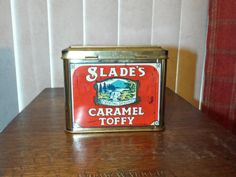 Vintage English Cottage Tin Container Slade's Caramel Toffy Crystal Spring Made in England