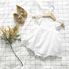 Cheap newborn baby girl romper, Buy Quality baby girl romper directly from China lace romper Suppliers: Newborn Baby Girls Rompers 2017 Tiny Cotton Solid White Colour Lace Romper High Quality Boutique Toddler Baby Girls Costume Toddler Girl Outfits, Baby Outfits Newborn, Kids Outfits, White Eyelet Dress, Lace Romper, Outfit Online, Baby Girl Romper, Baby Girls, Mom Baby