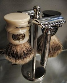 The shaving brush; lather up the face, used a straight razor to take off the beard -- even barber shops kept a shaving mug for each customer! Good old days! Men's Grooming, Art Of Manliness, Wet Shaving, Shaving Brush, Shaving Stand, Shaving Tips, Shaving Cream, Shaving Set For Men, Shaving Products