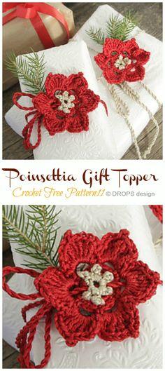 Flower Christmas Crochet Blanket, Crochet Christmas Gifts, Crochet Ornaments, Holiday Crochet, Crochet Crafts, Christmas Crafts, Christmas Decorations, Christmas Ornaments, Crochet Poppy Free Pattern