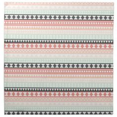 Teal, Pink and Gray Tribal Aztec Pattern