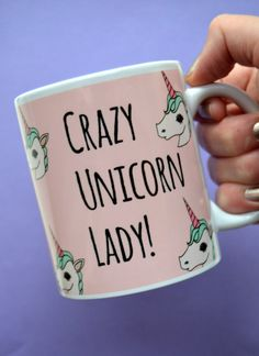 Baby Pink Crazy Unicorn Lady Mug. Perfect for any Unicorn Ladies out there. Age is but a number.  Details - Ceramic mug   Wrap around design