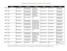 12 week Sprint Tri Training Schedule- SOME DAY-Etown peeps-Sprint distance Triathalon Coming September 9!  Early registrations only 45.00