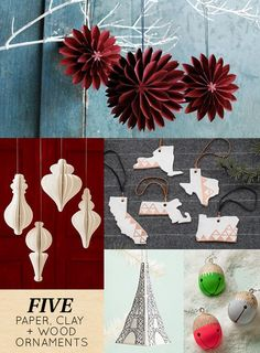 5 Wood Paper + Clay Christmas Ornaments | Design*Sponge