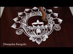 Very easy, Simple and unique rangoli for diwali | Beautiful flower kolam for festivals - YouTube