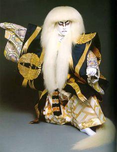Traditional Kabuki Masks | Tamasaburo Bando posed as the White Lion. Traditionallythe same actor ...