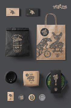 Food Box Packaging, Food Packaging Design, Coffee Packaging, Brand Packaging, Design Café, Menu Design, Label Design, Logo Design, Cafe Branding
