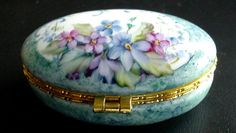 Hand Painted Hinged Floral Violets and by KarlaPendletonStudio