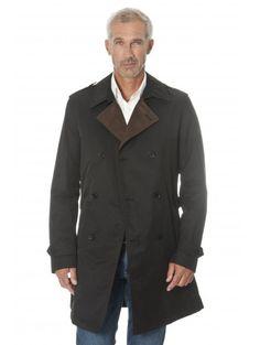 Trench-coat en polycoton noir