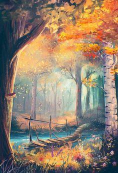 Wallpaper Paisagem Desenho 31 Ideas For 2019 Fantasy Art Landscapes, Fantasy Landscape, Landscape Art, Forest Landscape, Art And Illustration, Landscape Illustration, Art Illustrations, Anime Kunst, Anime Art