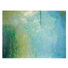 Elysian | Karen Dupre -- 66x47 -- Elysian features a high resolution image printed directly onto canvas with a knife gel finish -- ***The artist Dupre melts the crisp blue, green, yellow and cream hues together to create this abstract. As the artist gazed into the skyline in the park while under a tree; she was inspired by the likeness of a clear blue sky covered by the trees tones and the clouds above.