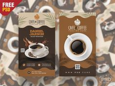 Coffee Shop Business Card PSD - PSD Zone Coffee Shop Business, Free Business Cards, Types Of Food, Coffee Shops, Cafe Restaurant, Tableware, Shopping, Check, Dinnerware