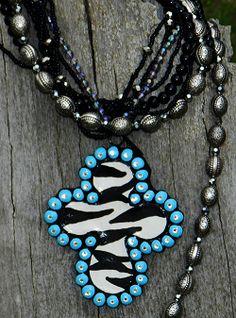 Itsacowgirlthing.com Nagales Zebra Turquoise Clay Cross Pendant