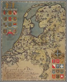 Kaart van Nederland Vintage Maps, Antique Maps, Vintage Posters, Holland Map, Adventure Symbol, Map Geo, Pictorial Maps, Fantasy Map, Old Maps