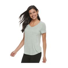 Women's SONOMA Goods for Life™ Pajamas: Essential V-Neck Tee, Size: Medium, Lt Green