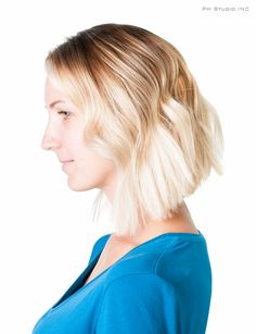 A stunning Blonde Lob layered haircut and gorgeous Sombre/Balayage color technique - hand painted from dark to light colors.  Haircut/Style & Color: Kristina Puckorius   Products: Aquage Uplifting Foam, Beyond Body Sealing Spray & Aquage Transforming Paste Lite.