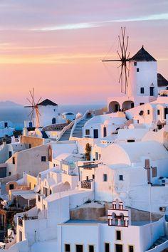 Oia Windmills, Santorini, Greece http://reversehomesickness.com/europe/oia-town-satorini-greece/