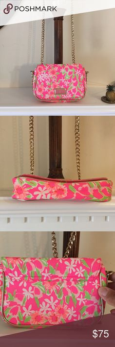Lilly Pulitzer cross body clutch Adorable over the shoulder Small purse, Used once, imperfect condition.Pink with flowers. lily pulitzer Bags Mini Bags