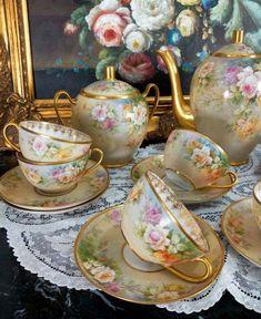 23 pieces of French Limoges Hand-painted Roses Tea/ coffee Set, in Antiques, Decorative Arts, Ceramics & Porcelain, Teapots & Tea Sets Tea Sets Vintage, Shabby Vintage, Tea Cup Saucer, Tea Cups, China Tea Sets, Teapots And Cups, Tea Service, My Cup Of Tea, Deco Table