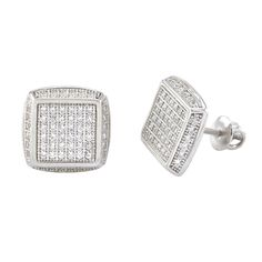 925 Sterling Silver Mens Stud Earrings Clear CZ Screwback Square 12mm If you are looking for a great selection of mens earrings- at very affordable prices check out www.jewelryland.com. If you like these high quality men's earrings please feel free to re-pin, like or leave a comment.