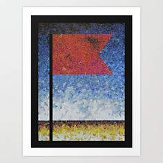 COLLAGE LOVE: Red Flag Art Print by Angelo Cerantola