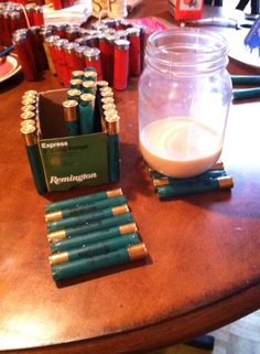 Shot Gun Shell Coaster's & Caddy. Typically trash, now utilized in our home after a fun day of shooting skeet.