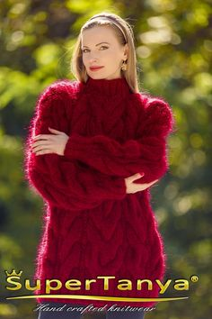 Thick cable knit mohair sweater hand knitted designer warm winter pullover SuperTanya Mohair Yarn, Mohair Sweater, Knit Sweaters, Turtleneck, Icelandic Sweaters, Red Design, Knitting Designs, S Models, Shawls And Wraps