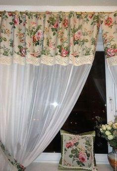 ideas for shabby chic kitchen decor ideas curtains Kitchen Window Blinds, Kitchen Window Treatments, Kitchen Curtains, Bedroom Curtains With Blinds, Drapes Curtains, Rideaux Design, Shabby Chic Kitchen Decor, Diy Kitchen, Kitchen Ideas