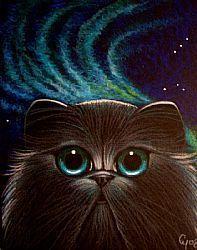 Art: BLACK PERSIAN CAT - NORTHERN LIGHTS 2 by Artist Cyra R. Cancel