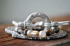 Silver and White Leather Bracelet Leather Bracelet by LaceCharming