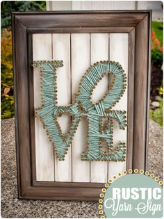 Rustic Love Sign - screws and string. I've wanted to lie these string art things, but just didn't. This is the best version I've ever seen. Love it! #make #craft