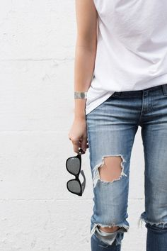 white tee & ripped jeans #style #fashion #casual