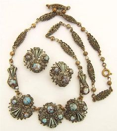 Vintage Czech Bohemian filigree glass turquoise necklace earrings