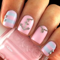 Pastel-Pink-And-Blue-Nautical-Nails-With-Anchor-Studded- Pretty Pink Nail Art Designs Anchor Nail Designs, Anchor Nail Art, Nautical Nail Art, Pink Nail Designs, Short Nail Designs, Nails Design, Nautical Anchor, Matte Nails, Pink Nails