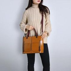 Women Oil Wax Leather Tote Bag Retro Shoulder Bags Handbags - never heard of this company and price seems too low to be a quality product but guess it would be a one season bag. Crossbody Wallet, Color Khaki, Leather Shoulder Bag, Shoulder Bags, Printed Tote Bags, Casual Bags, Handbags Online, Up Girl, Brown And Grey