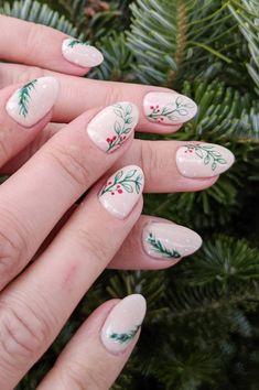 Chistmas Nails, Christmas Manicure, Xmas Nails, Christmas Nail Designs, Christmas Nail Art, Holiday Nails, Winter Christmas, Cute Nails, Pretty Nails